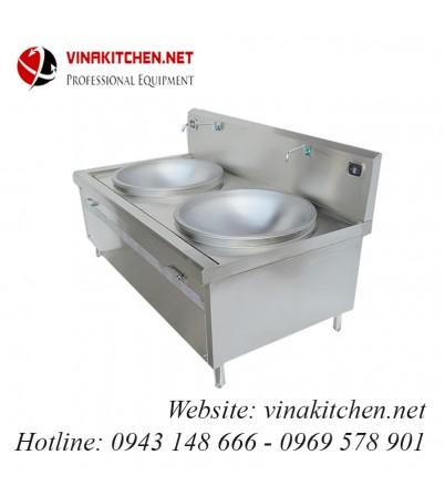 Bếp từ công nghiệp lớn mặt lõm đôi có vòi rửa 12KW HZD-2X12KW-LDX
