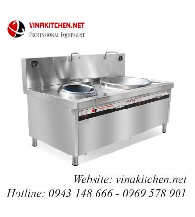 Bếp từ công nghiệp mặt lõm-chảo lớn-bếp hầm có vòi rửa 15KW HZD-15KW-DC-C