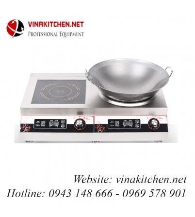 Bếp từ công nghiệp đôi 1 mặt phẳng 1 mặt lõm có hẹn giờ 3.5KW HZD-2X3.5KW-ACS