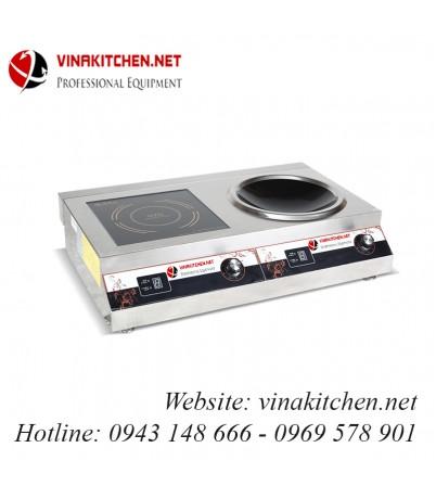 Bếp từ công nghiệp đôi 1 mặt phẳng 1 mặt lõm 3.5KW HZD-3.5KW-2AXS