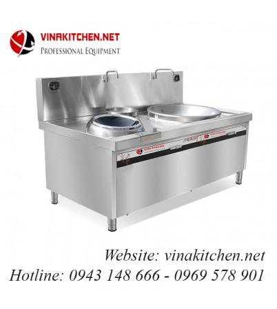 Bếp từ công nghiệp mặt lõm-chảo lớn-bếp hầm có vòi rửa 20KW HZD-20KW-DC-C