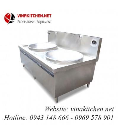 Bếp từ công nghiệp lớn mặt lõm đôi có vòi rửa 20KW HZD-2X20KW-LDX