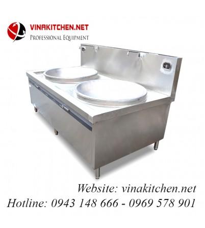 Bếp từ công nghiệp lớn mặt lõm đôi có vòi rửa 25KW HZD-2X25KW-LDX