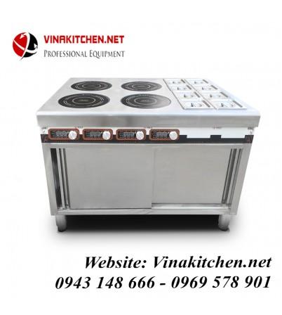 Bếp từ công nghiệp kết hợp bếp hấp 3KW HZD-3KWX4L-BW