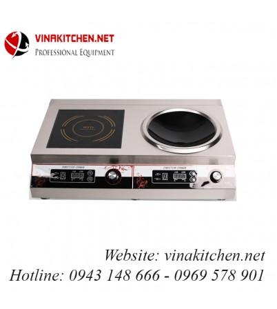Bếp từ công nghiệp đôi 1 mặt phẳng 1 mặt lõm có hẹn giờ 5KW HZD-2X5KW-ACS
