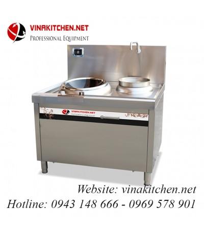 Bếp từ công nghiệp mặt lõm và bếp hầm có vòi rửa 8KW HZD-8KW-LCH