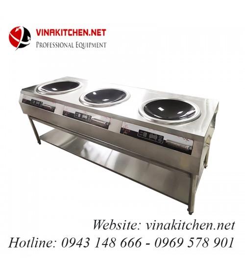Bếp từ công nghiệp 3 bếp lõm có giá kệ 8KW